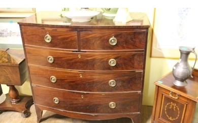 Georgian Inlaid Mahogany Bowfront Chest of 2 short over 3 lo...