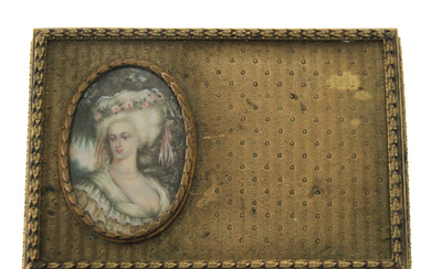 Gilt Bronze Jewelry Box with Miniature Painting, France, 19th Century.