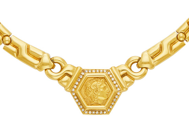 Gold and Diamond Medallion Necklace and Pair of Earrings