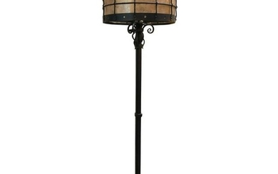 Gothic Style Tripod Floor Lamp With Grated Shade Circa