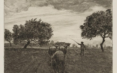 Hans Thoma (1839-1924), The ploughman (ox plough), 1897, Etching