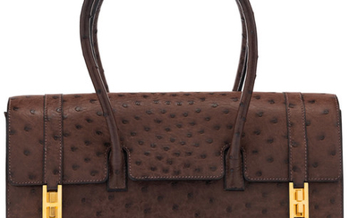 Hermès 32cm Cacao Ostrich Drag Bag with Gold Hardware...