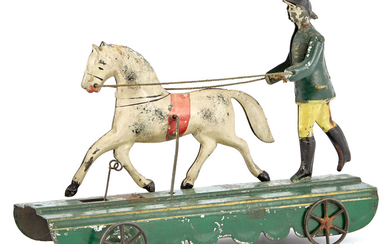 Horse and Trainer Tin Pull Toy