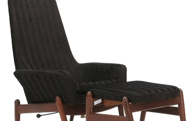 Ib Kofod-Larsen: Easy chair and stool of teak. Upholstered with patterned black fabric. Manufactured by Carlo Garhn. (2)