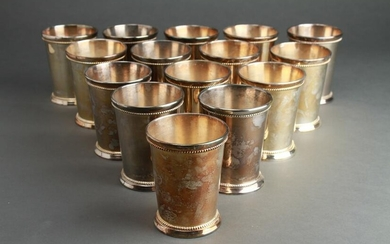 Indian Silver Plated Beaded Julep Cups, 15