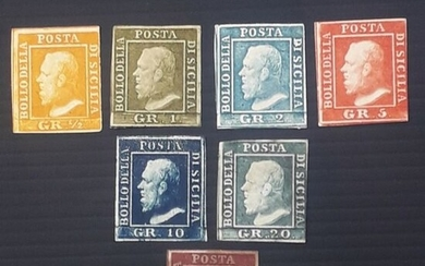 Italian Ancient States - Sicily 1859 - Complete set from 1/2 t. to 50 grana.