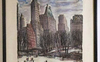 "J.M GALLAIS 1964 ""SKATING IN CENTRAL PARK"" PRINT"