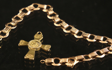 Jewellery gold - 14k pink gold bracelet with round links - dents, clasp replaced and made from metal, 20 cm - and a 14k yellow gold cross pendant engraved with intials - 28 x 24 mm excl. bale