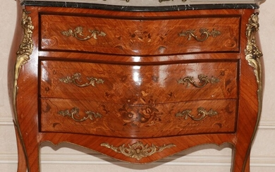 """LOUIS XVI STYLE SATINWOOD MARBLE TOP COMMODE, H 35"""", W 41"""", D 18"""""""