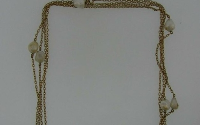 LOVELY Victorian 14k Yellow Gold & Pearl Watch Chain