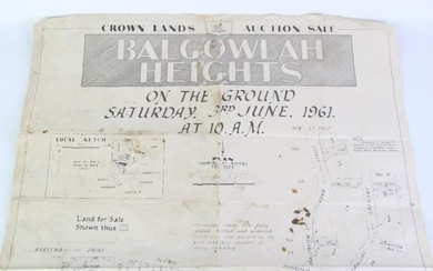 Land's Auction Sale Poster of Balgowlah Heights c.1961, 73cm x 54cm