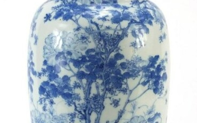 Large Japanese blue and white porcelain vase hand