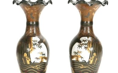Large Pair of Japanese Lacquered Porcelain Vases