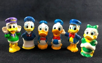 Lot of 6 Donald Daisy Duck Miniature Plastic Figurines
