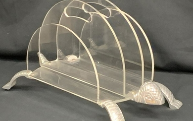 MCM ARTHUR COURT METAL TURTLE LUCITE MAGAZINE RACK