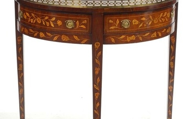 Mahogany veneered half-moon console table, light wood floral marquetry and fine brass filet inlay, opening by two drawers in the belt. Topped by a brass gallery and finished with three tapered legs. Dutch work. Period: late 18th century...