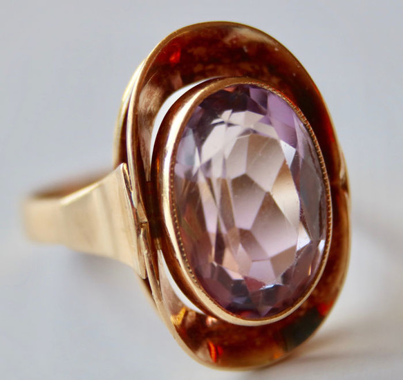 Maker's mark - 14 kt. Yellow gold - Ring - 3.70 ct Amethyst