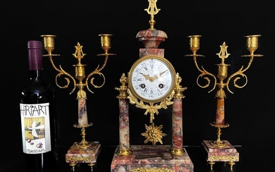Mantel clock - Brass, Bronze (gilt/silvered/patinated/cold painted), Marble - Late 19th century