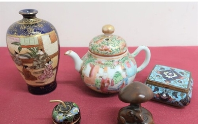 Miniature Chinese globular teapot decorated in famille vert ...