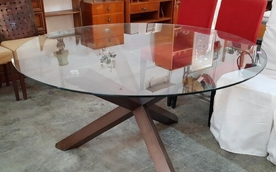Modern Round Glass Top Table in Cross Shaped Legs (Ø 140cm /...
