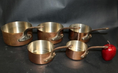Nest of 5 French Tournus copper pots