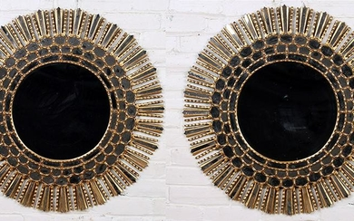 PAIR OF CARVED GILT WOOD STARBURST MIRRORS