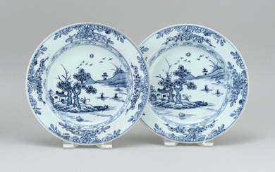 """PAIR OF CHINESE BLUE AND WHITE PORCELAIN DISHES IN KANGXI STYLE With landscape decorations. Diameter 9.1""""."""