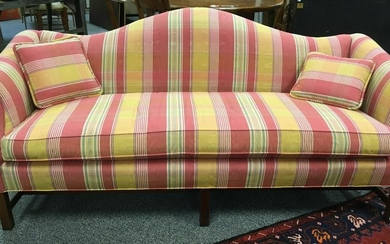 PINK / YELLOW PLAID MOIRE CAMEL BACK SOFA