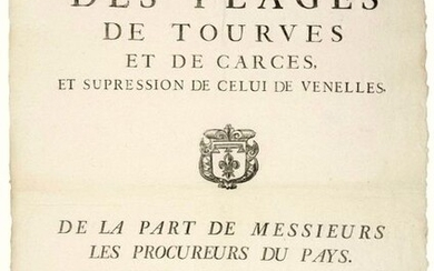 """PROVENCE. 1741. Abandonment of the FÉODAUX PÉAGES of VENELLES (13), TOURVES (83) & CARCES (83). """"On behalf of the Public Prosecutors of the Country. The Public is warned that as from September 29, 1741, day of the festival of Saint Michel, the Toll..."""