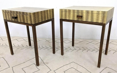 Pair CLIFF YOUNG LTD. Snakeskin Side End Tables with 1