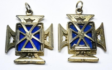 Pair Vintage Costume Jewelry Maltese Cross Pendant
