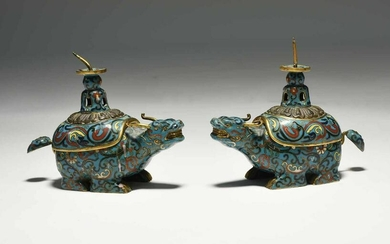 Pair of Chinese cloisonné water buffalo vessels