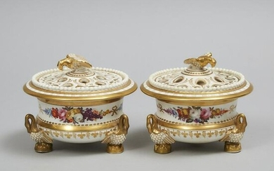 Pair of English Porcelain Potpourri Vases with Covers
