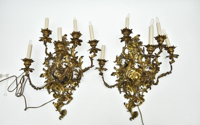 Pair of Gilt Metal Wall Sconces