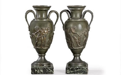 Pair of amphoras in patinated metal ff. S. XIX.