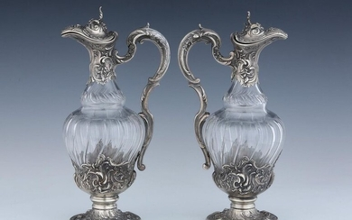 Pair of cut crystal and silver Minerva 950 Thousandths Eagles Balusters Circa 1900 Louis XV style