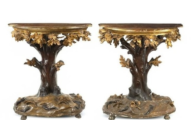 Pair of lacquered and gilt wood consoles