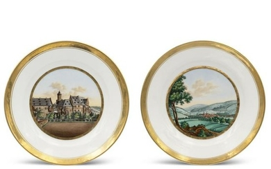 Pair of polychrome and golden porcelain plates
