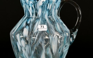 Pitcher, Art Glass, Blue And White Opal Spatter
