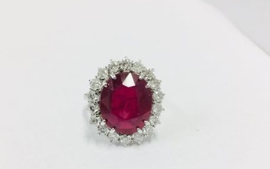 Platinum ruby Diamond Cluster ring,10.23ct GRS certificated ruby,1.30ct...