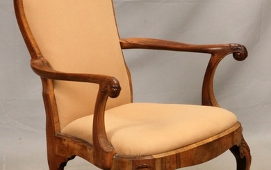 QUEEN ANNE STYLE CARVED WALNUT OPEN ARM CHAIR 37 29 24