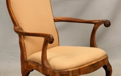 QUEEN ANNE STYLE CARVED WALNUT OPEN ARM CHAIR