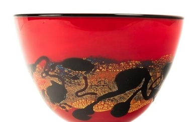 Rare Nourot Studio Art Glass Red Satin Footed Bowl