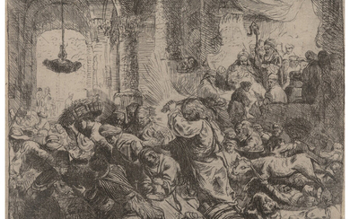Rembrandt van Rijn (1606-1669), Christ driving the money changers from the temple (1635)