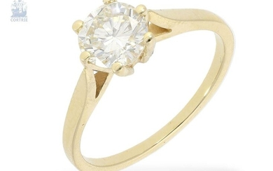 Ring: gold solitaire/brilliant gold forged ring with a fine diamond of 1.06ct