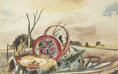 Rowland Suddaby, British 1912-1972- Landscape with cartwheel; pen and black...