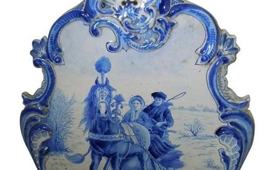 SCENIC DELFT CHARGER HORSE DRAWN SLEIGH, 19TH CENTURY