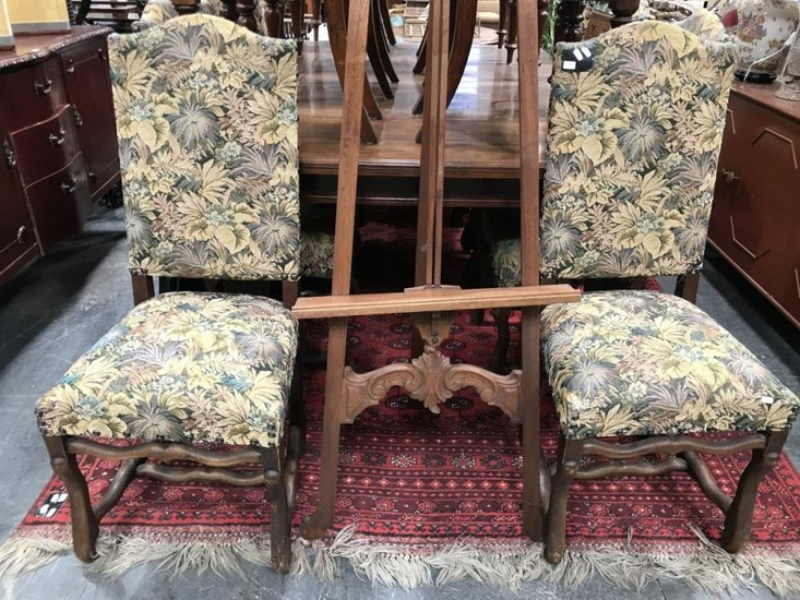 Lot Art Set Of Eight Louis Xiv Style Oak Dining Chairs The High Backs Upholstered With Scattered Leaf Tapestry Shaped Legs Stretchers
