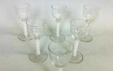 Set of Six Etched Colorless Blown Glass Wines, with air-twist stems, ht. 6 in.
