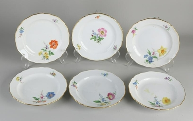 Six German porcelain Meissen cake plates with